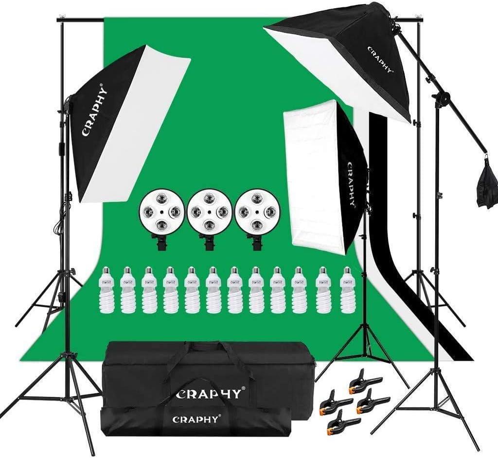 CRAPHY Kit de Iluminación para Fotografía: 3X Ventana de Luz, 3X Fondos de Tela, 1X Soporte de Fondo, 12X Bombilla 45W, 2X Trípode de Luz, 1X Soporte Jirafa, 2X Bolsa Portátil