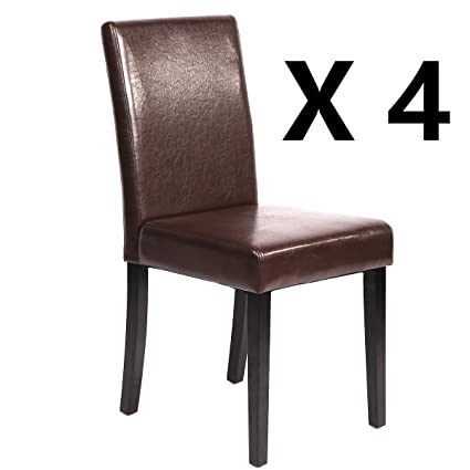 PayLessHere Set Of 4 Urban Style Leather Dining Chairs With Solid Wood Legs  Chair