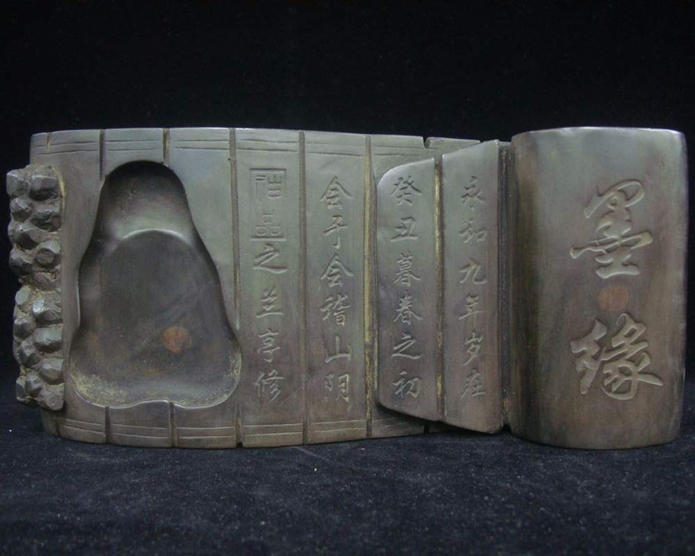 Ancient Old Chinese Ink Stone Hand Carving Bamboo Book Ink Slab Mark Quality Ink Stone