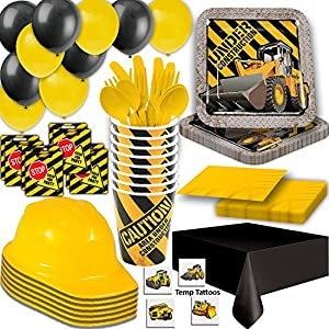 Construction Party Supplies - Plates, Cups, Napkins, Tablecloth, Cutlery, Loot Bags, Balloons, Hanging Decorations, Hard Hats, Tattoos - Black and Yellow Builder Zone Theme Birthday …