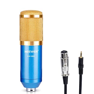 Neewer® NW-800 Professional Studio Broadcasting & Recording Condenser Microphone Set Including: (1)NW-800 Condenser Microphone + (1)Ball-type Anti-wind Foam Cap + (1)Microphone Audio Cable (Bl at amazon