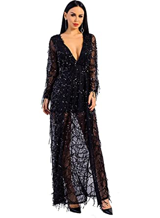 c70104ad95b Miss ord Women Deep V Neck Long Sleeve Split Sequined Maxi Party Cocktail  Dress Black X
