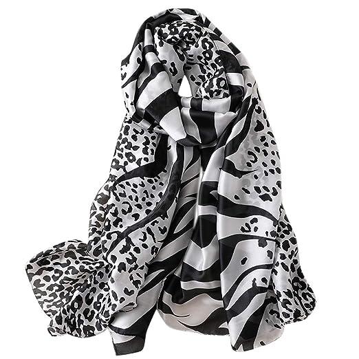 GERINLY Animal Print Shawl Wraps Zebra   Leopard Pattern Silky Scarf (Black) f77ce5e1e