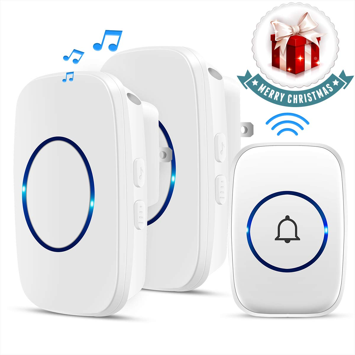 Bodyguard Wireless Doorbell Waterproof Doorbell Chime with 2 plug in Receivers and 1 Remote Push Button Operating at 1000 feet Range with 38 Chimes 3 Level Volume LED Indicator White