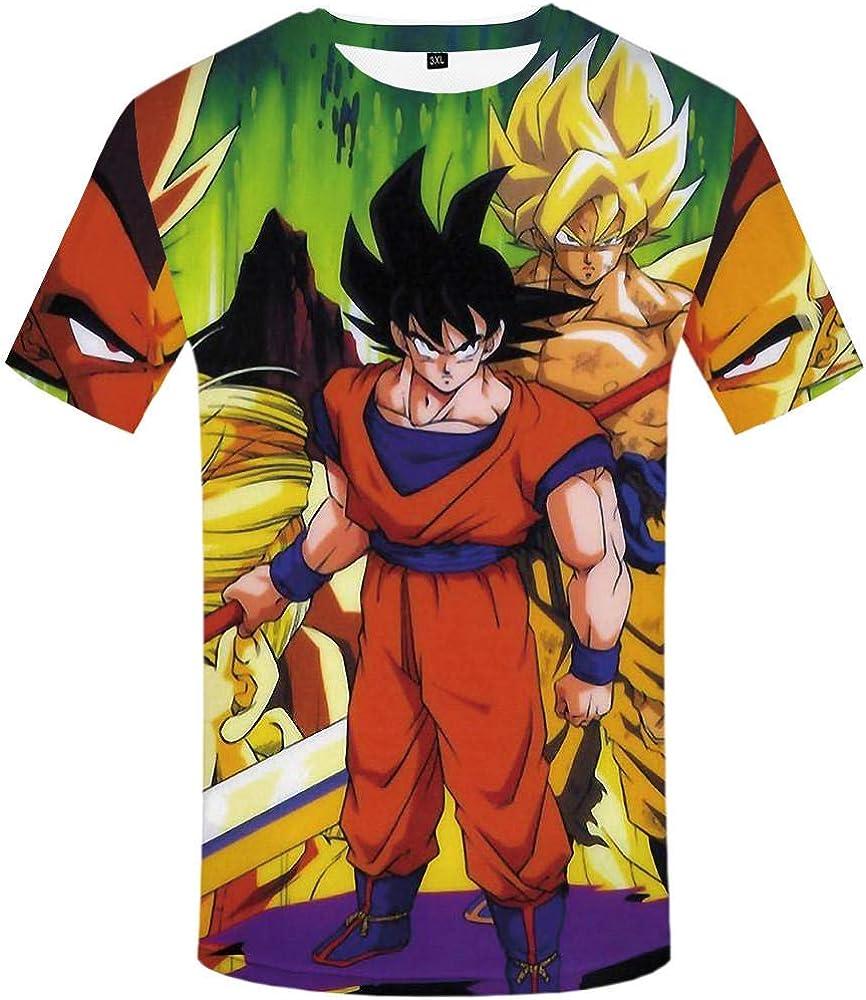 Dragonzzz Camisetas De Manga Corta Unisex De Dragon Ball 37D Material Súper Suave Cara Impresa Camiseta Cuello RedondoCarocar Serie @ 6XL: Amazon.es: Ropa y accesorios