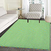 Geometric Non Slip Rugs Chevron Pattern Wavy Stripes Zigzag Lines Abstract Ornamental Illustration Door Mats for inside Non Slip Backing 3x4 Yellow Green Blue