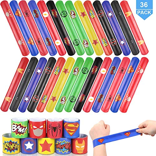 POKONBOY Superhero Slap Bracelets for Kids - 36 Pack Slap Bracelets Superhero Birthday Party Favors Avengers Party Supplies Super Hero Carnival Prizes for Kids Boys Girls Adults -