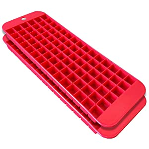 Mini Ice Cube Trays - 2 Pack - 90 Square Shaped Molds - BPA Free, Food-Grade Material - Dishwasher Safe - Stackable & Odor Free - Does Not Crack While Freezing - Red