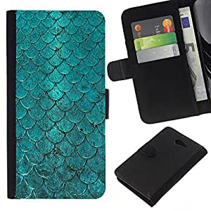 KingStore / Leather Etui en cuir / Sony Xperia M2 / Light Pink Mint Green Yellow
