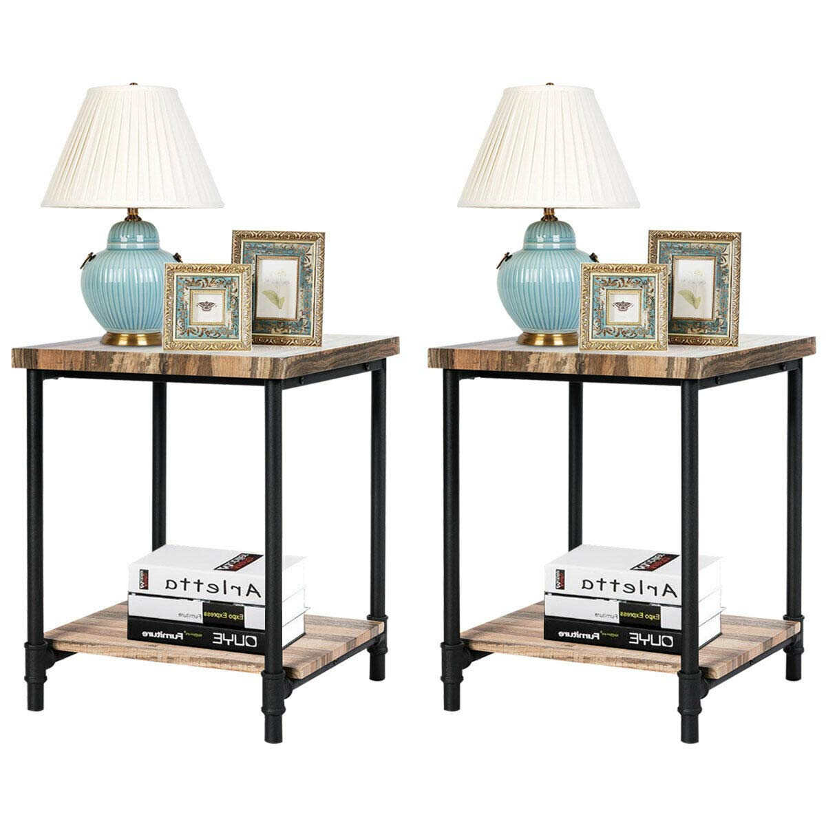 Tangkula End Table, Wooden Square Table with Metal Frame, Modern Side Table, Ideal for Bedroom, Living Room, Office, Apartment and Studio, 22 inch Side Table, Natural (2) by Tangkula