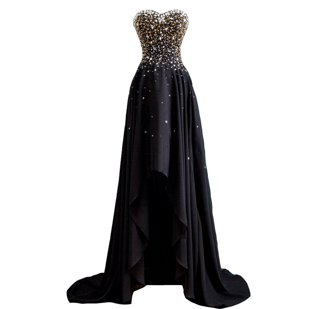 Kivary Women's Black and Gold Beaded High Low Chiffon Formal Prom Dresses Evening Gowns US 12