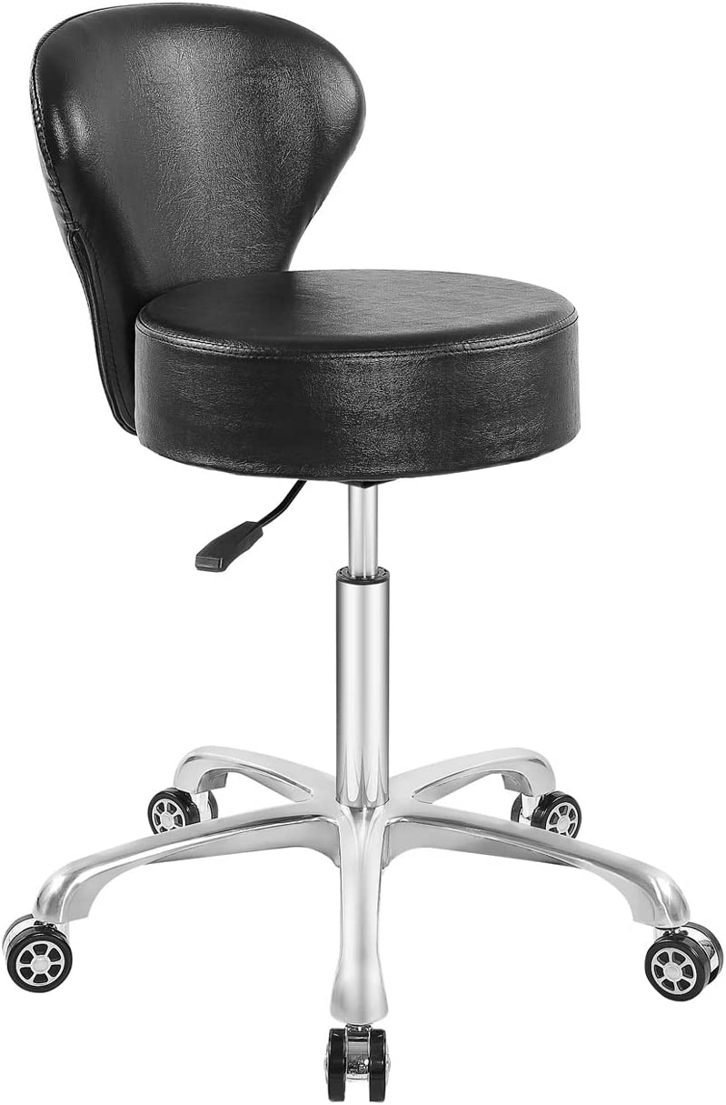 Hydraulic Rolling Stool Desk Chair Drafting Adjustable with Backrest Heavy Duty for Office Kitchen Medical Dentist Shop and Home (Black)