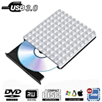 Externes CD DVD Laufwerk USB 3.0, Tragbar Extern DVD Brenner Optischer DVD-RW Row Player Rewriter für MacBook OS Windows PC Laptop