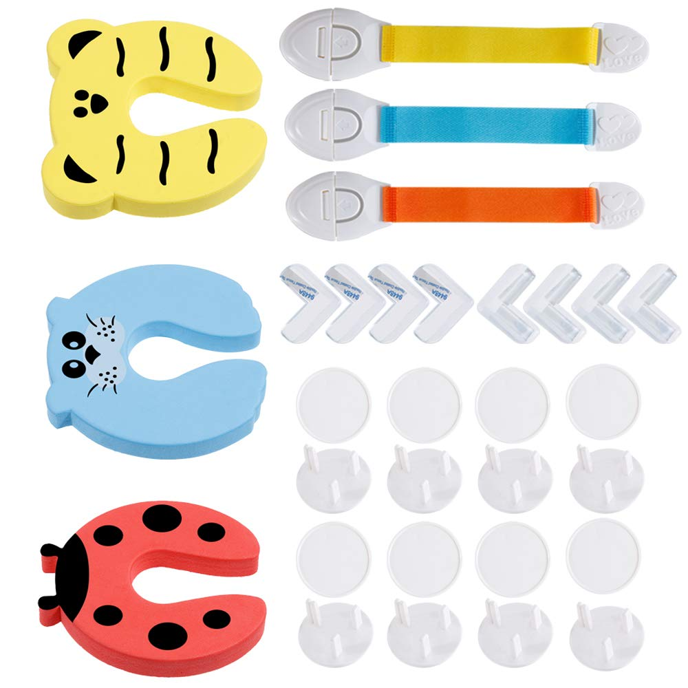 Nabance Baby Proofing 16PCS Baby Safety Plug Socket Covers 8PCS Child Safety Corner Protectors 3PCS Foam Door Stoppers 3PCS Safety Locks for Cupboard