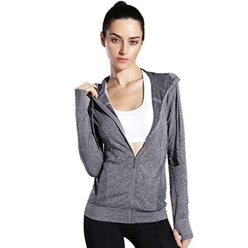 Internet Las mujeres Yoga Sport Pocket Stretchy Workout Dri-Fit con capucha abrigo chaqueta al aire ...