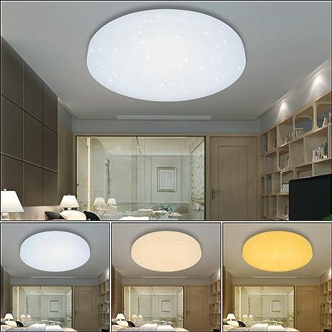 HG® Lámpara led redonda para el techo. Lámpara para salón o comedor con efecto de cielo estrellado. Bonita lámpara de decoración moderna de bajo ...