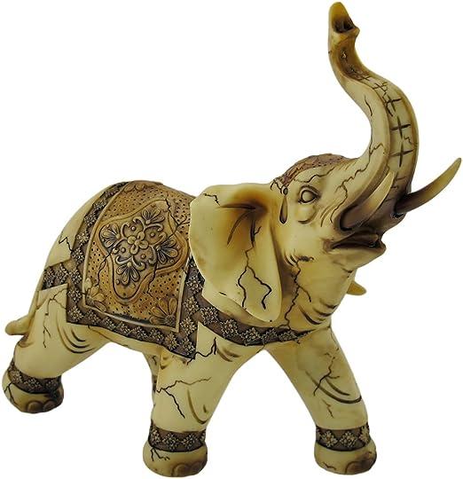 "4/"" Good Luck Elephant Raised Trunk Figurine White New"