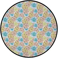 Printing Round Rug,Brown and Blue,Abstract Foliage with Watercolor Style Vintage Nostalgic Flora Decorative Mat Non-Slip Soft Entrance Mat Door Floor Rug Area Rug For Chair Living Room,Tan Pale Green