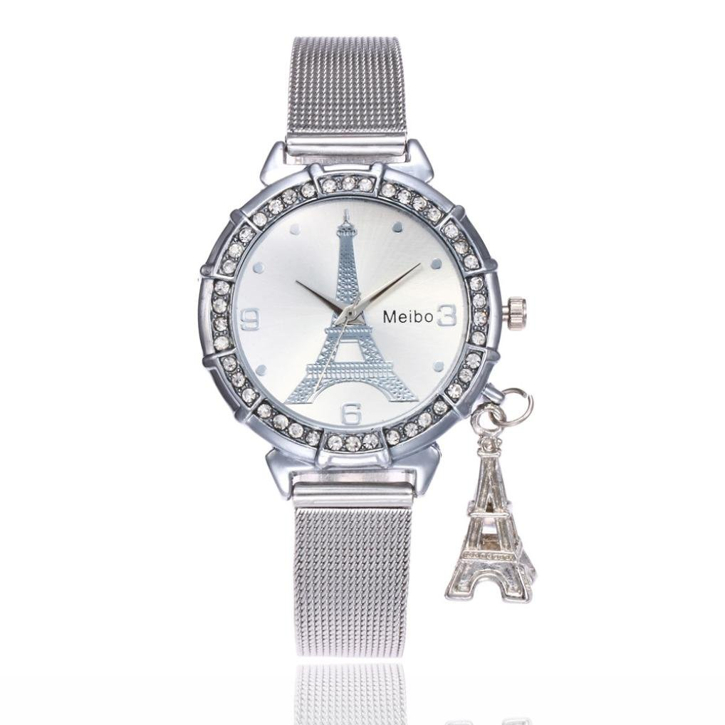 Hmlai Women Ladies Women Fashion Casual Business Eiffel Tower Quartz Movement Wrist Watch (Silver) by Hmlai (Image #1)