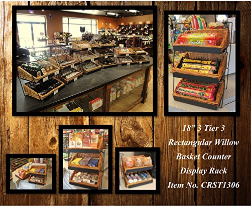 3-Tier 3 Rectangular Willow Basket Counter Display Rack