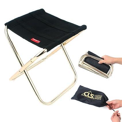 CSPone   Petit Tabouret de Jardin Pliant, Mini Chaise pour Marche Pliante, Marche Pied Pliable, Siège de Plage Pliable pour Pêche, Camping, Voyage,