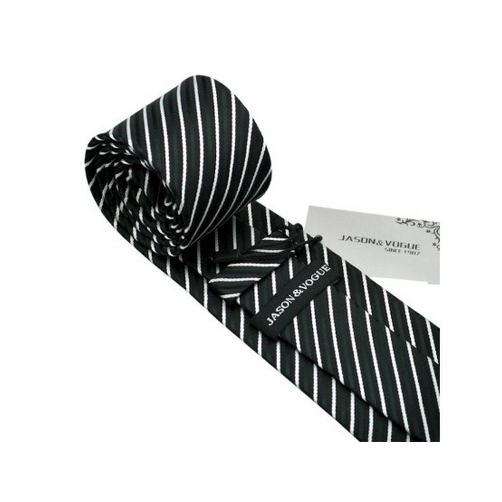 Stripe White Black Classic Silk Necktie Tie Hanky and Cufflinks For Men