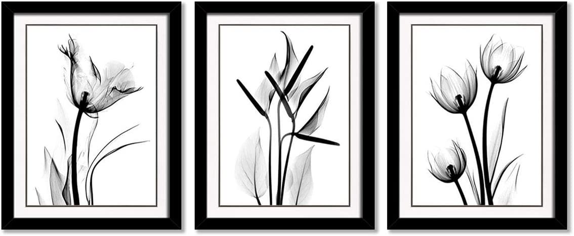 YPY Black Frames Flower Wall Art for Bedroom Teal Floral Black White Oil Painting Printed on Canvas Artwork Pictures Ready to Hang Black Frames, 12x16in
