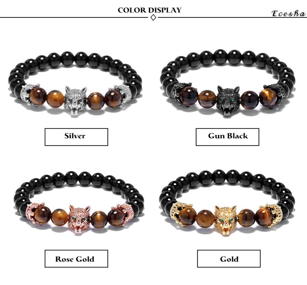 Femme Homme Bracelet Cadeau Noir Diamant Tigre Oeil Pierre//Vert Oeil Loup T/ête Animal T/ête Petit Couronne Bracelet