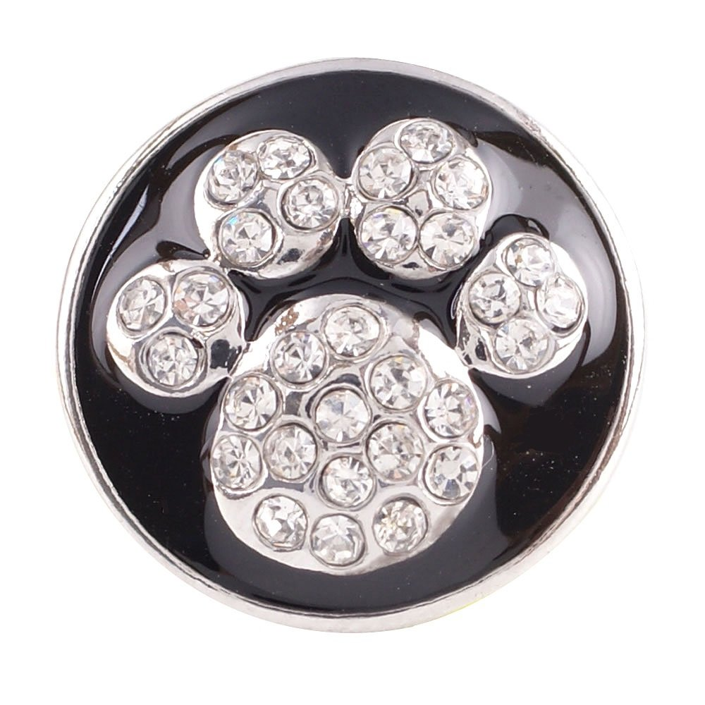 My Prime Gifts Standard Size 18-20mm Snap Jewelry Black Dog Paw Print Rhinestone Standard Size 18-20mm Partner Beads KC8519
