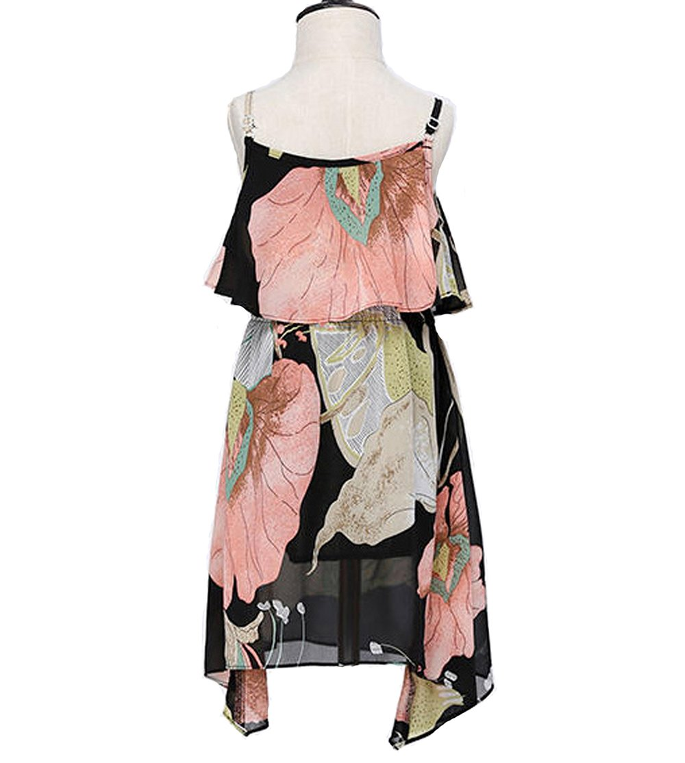 PopReal Mom and Girl Cute Shoulder-Straps Off Shoulder Floral Printed Chiffon Casual Playwear Dress by PopReal (Image #3)