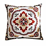 "Dingoo 18"" X18"" Cotton Linen Embroidery Cushion Covers Vintage style Decorative Square Throw Pillow Case Sofa Car Bedding Decorative Throw Pillow Case"