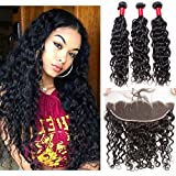 VIPbeauty Hair Bundles with Frontal Best Virgin Brazilian Hair Bundles Black Hair Water Wave Frontal Lace Closure with Bundles (10 12 14+10)