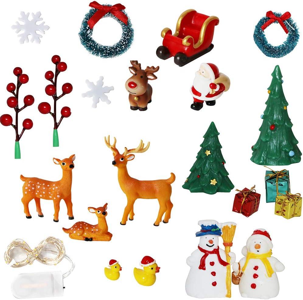 alikiki Miniature Christmas Fairy Garden Ornaments – DIY Mini Christmas Garden Accessories with Snowman Santa Deer Figurines String Lights Christmas Snow Globe Dollhouse Decoration 22pcs