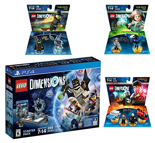 Lego Dimensions Magical Starter Pack + Harry Potter Team Pack + Fantastic Beasts Tina Goldstein Fun Pack + The Wizard Of Oz Fun Pack for Playstation 4 or PS4 Pro Console by WB Lego