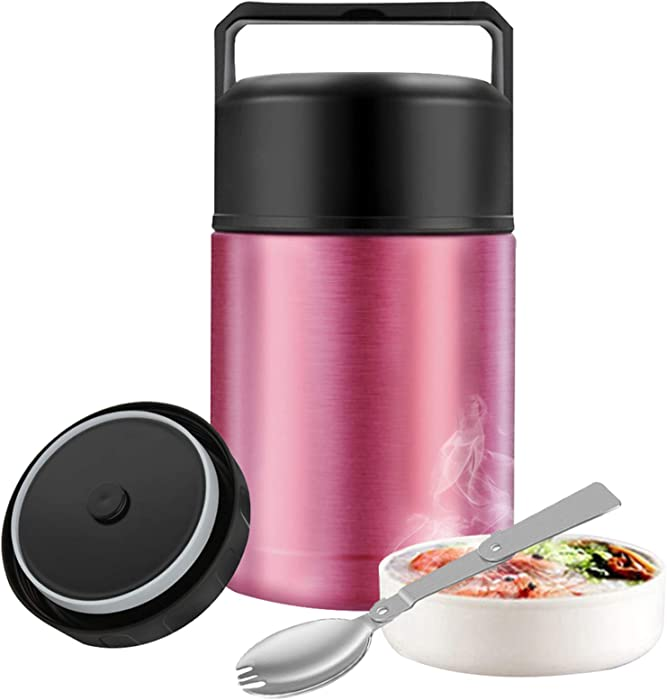 Food Thermos,27oz Wide Mouth Soup Thermos for Hot Food with Folding Spoon,Insulated Food Jar,Leak Proof Soup Thermos,Stainless Steel Vacuum Lunch Container Flask Bento Box for Kids Adult (Pink)