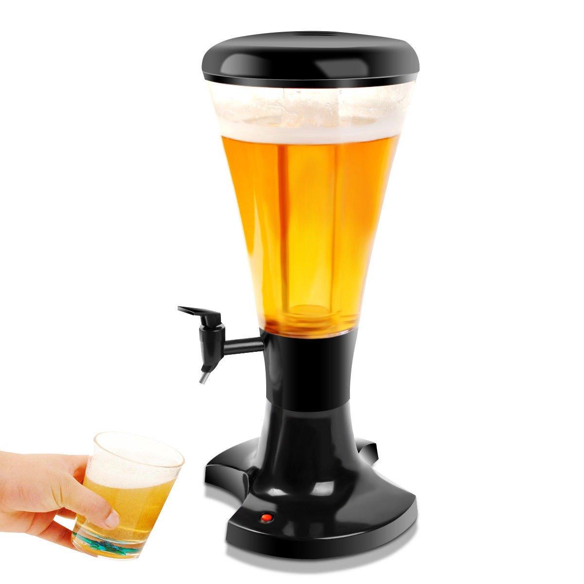 Goplus Beverage Dispenser 3L Plastic w/ LED Shinning Lights Tabletop Black Draft Beer Tower for Bar