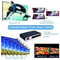 Mini Projector(2018 Upgraded), MOTOU DLP Portable Video LED Projector HD Supports 3D/HDMI/Bluetooth/USB/WIFI/1080P/iPhone/Android, Rechargeable Multimedia outdoor Pico Projector for Game/Office/Party from MOTOU
