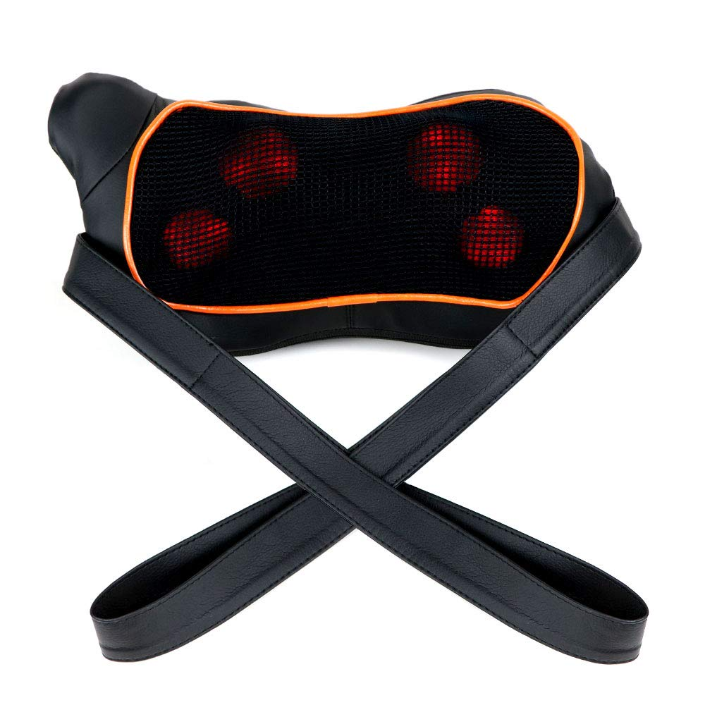 Sooswel Neck Back Massager with Heat Deep Kneading Massage Pillow with Stepless Adjust Massage Intensity for Stress Relief Ultimate Relaxation