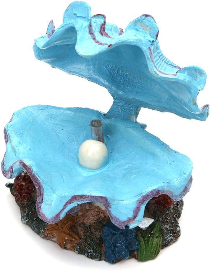 UEETEK Decoración artificial de Shell y Peals para Fish Tank Aquarium (azul)