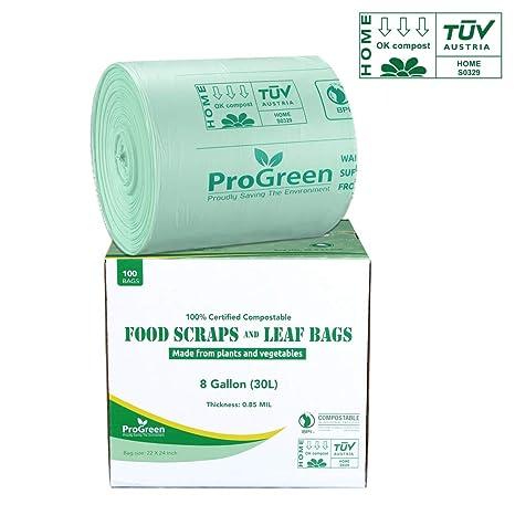 Amazon.com: ProGreen Bolsas 100% compostables de 8 galones ...