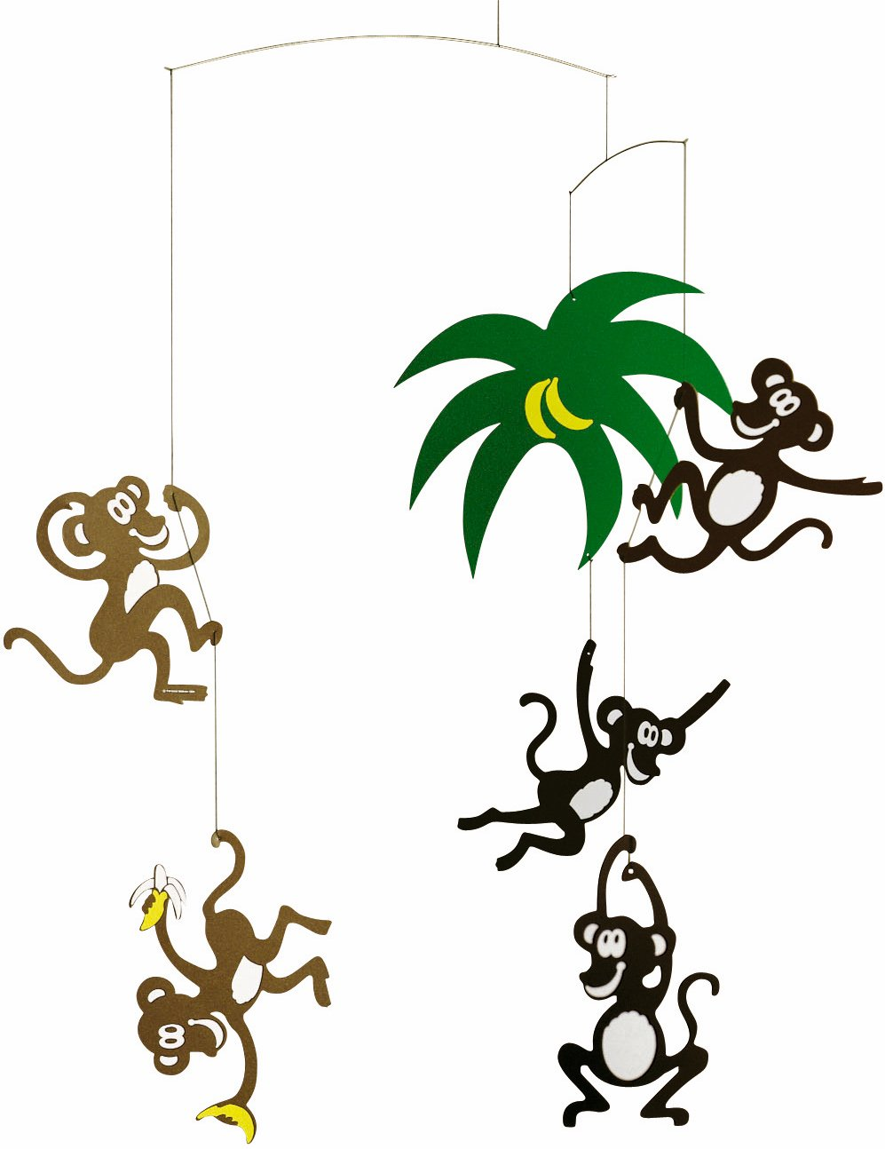 Flensted Mobiles Monkey Tree Hanging Nursery Mobile - 23 Inches Plastic