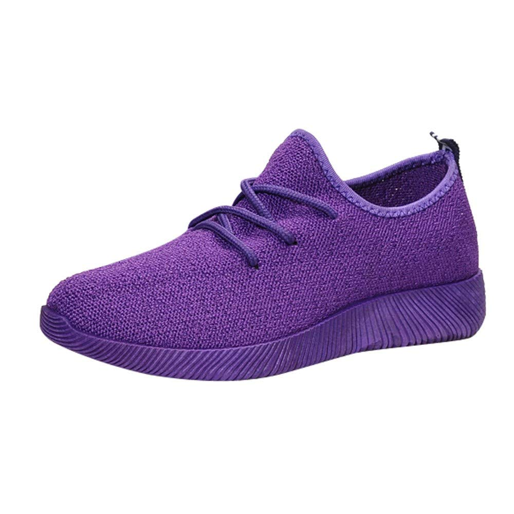 Femmes Chaussures De Sport ADESHOP Mode Dames Chaussures Confortable Respirant Femmes Chaussures Net Bouche Peu Profonde Chaussures en Tissu Tissage Volant Couleur Pure