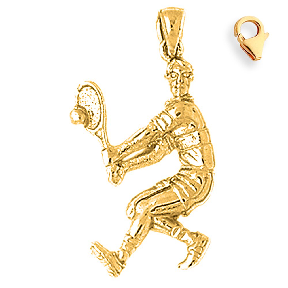 35mm Silver Yellow Plated Tennis Player Charm
