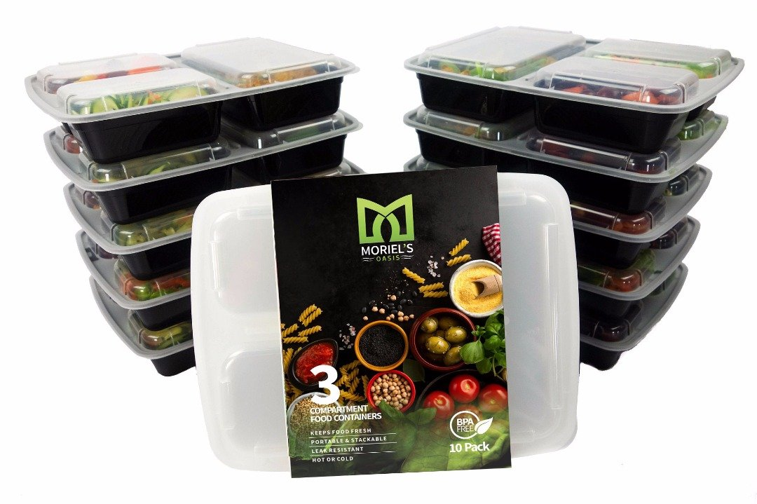 Meal Prep Containers Reusable BPA -Free, Food Prep containers, Portion Control Containers,3 compartment Bento Box, Meal Prep Tray, Meal Prep Trays with Cutlery