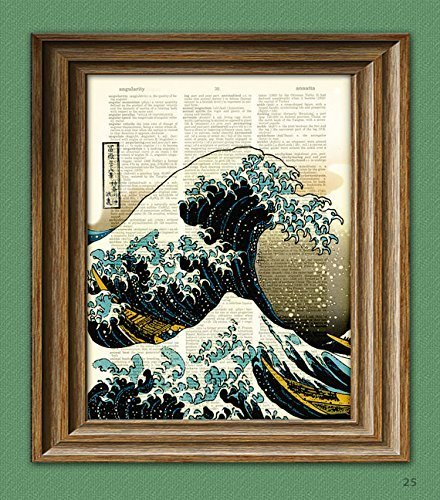 Art Awesome (The Great Wave off Kanagawa awesome upcycled Japanese tidal wave vintage dictionary page book art print Hokusai)