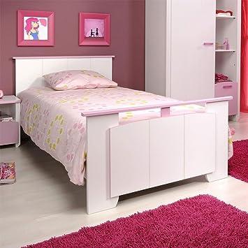 Kinderbett auto weiss  Bett Mädchenzimmer Kinderbett weiss rosa Lilith Pharao24: Amazon ...
