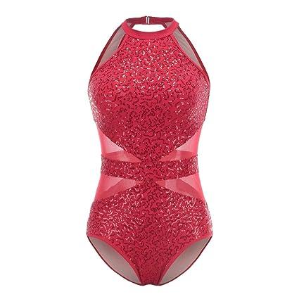 Adult Women/'s Sleeveless Halter Sequins Ballet Gymnastics Dance Leotard Dress