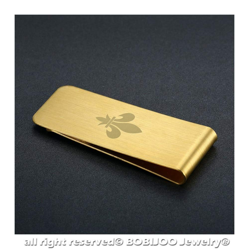 Fleur-de-lis Money Clip Steel 316 Brushed Golden Cross Seal Templar Jerusalem Frank Mason Flower Lilies in The Choice BOBIJOO Jewelry