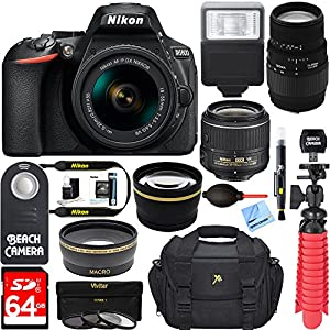 Nikon D5600 24.2MP DSLR Camera + (18-55mm VR Nikon & 70-300mm SLD DG Sigma Lens Package, Black) + Bundle 64GB SDXC Memory + Photo Bag+Wide Angle Lens + 2x Telephoto+Flash + Remote + Tripod + Filters
