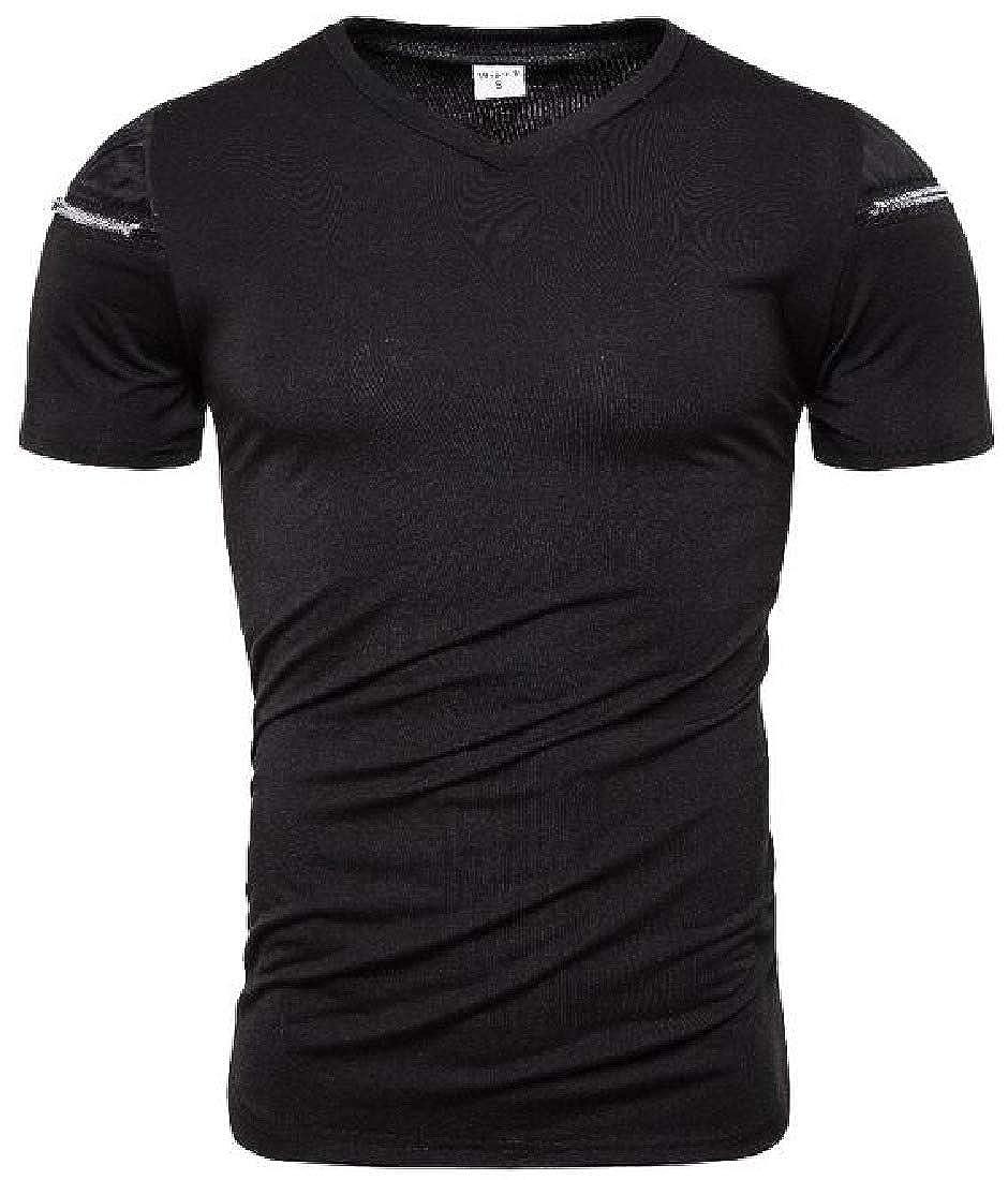 Zantt Mens Short Sleeve Zip Trim Loose Fit Stitching V-Neck T-Shirt Tee Top